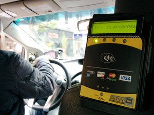 NFC terminal in a taxi