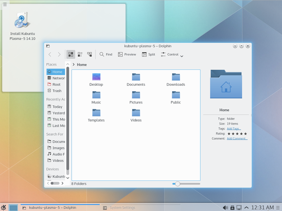 plasma 5.0 desktop window