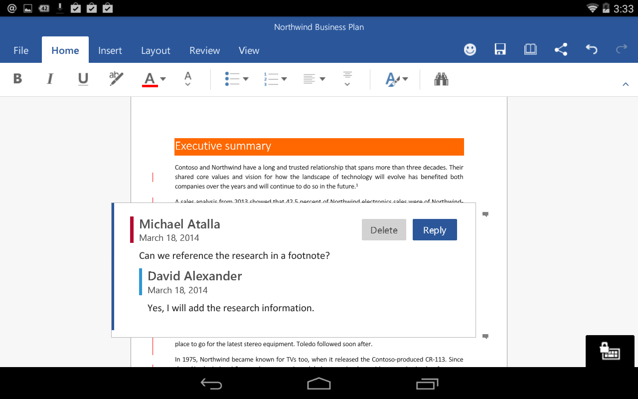 Office For Android Microsoft Word Comments