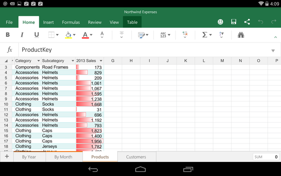 Office for Android Microsoft Excel
