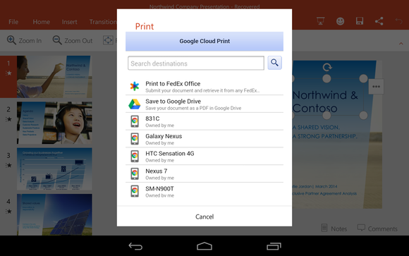 Office for Android Microsoft cloud print