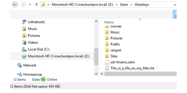 Browsing a Yosemite folder in Windows 10