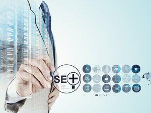 Executive torso behind SEO screen