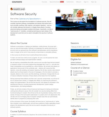 UMD software security MOOC