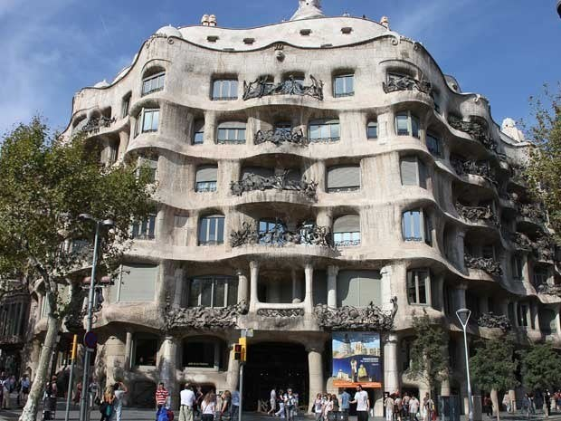 Casa Mila or La Pedrera, designed by Antoni Gaudi, in Barcelona, Spain