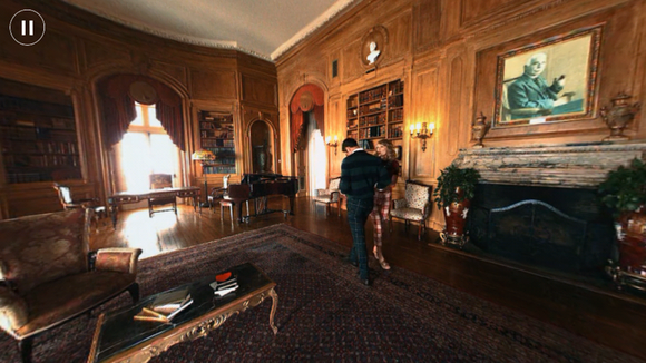 taylor swift and guy walking in mansion