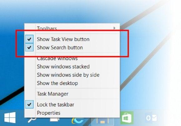windows 10 toolbar options large