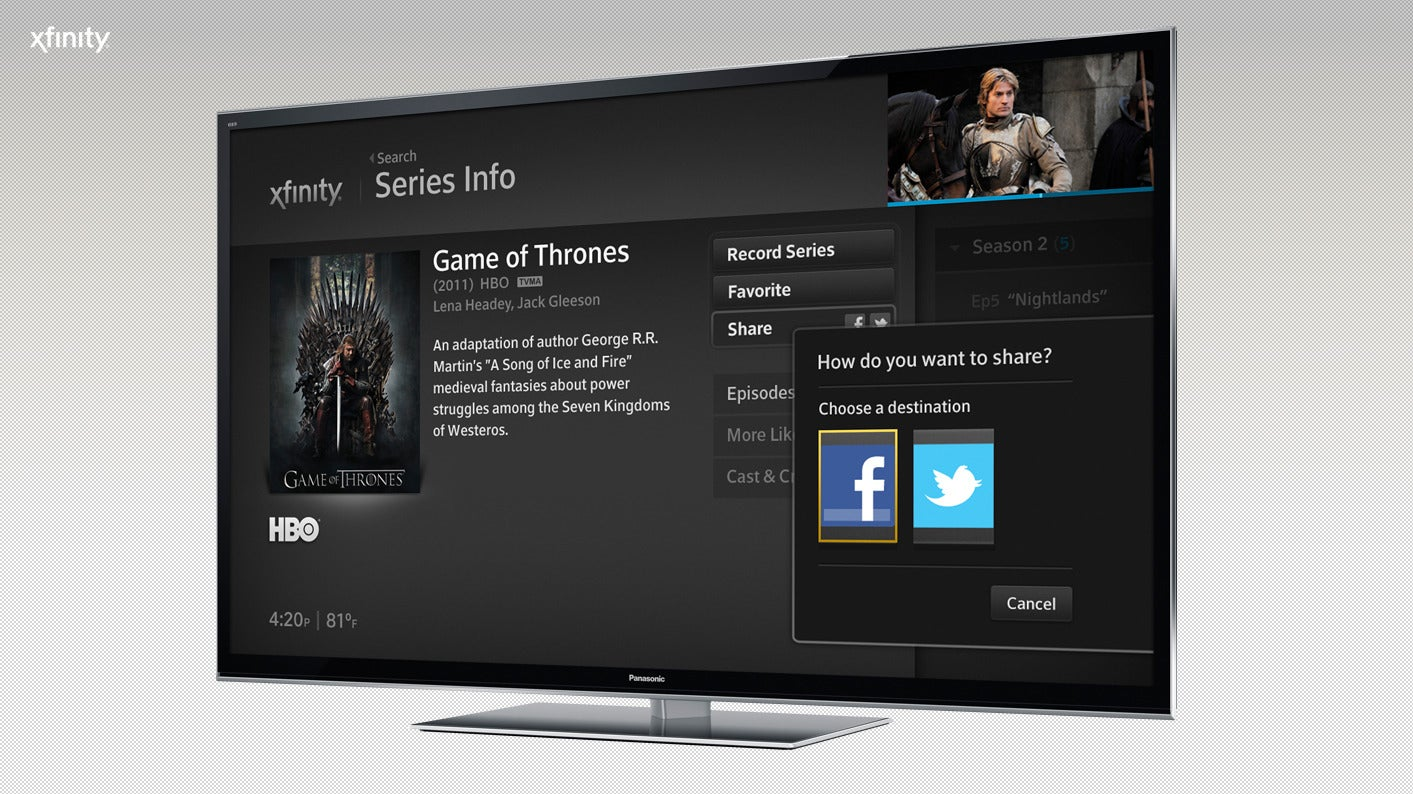 comcast could deliver xfinity x1 independent of its