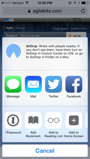 1password ios8 extension