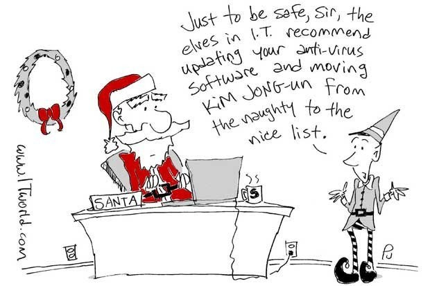 An elf telling Santa to switch Kim Jong-un to the Nice list.
