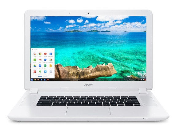 acer chromebook 15 cb5 571 white front so with start bar