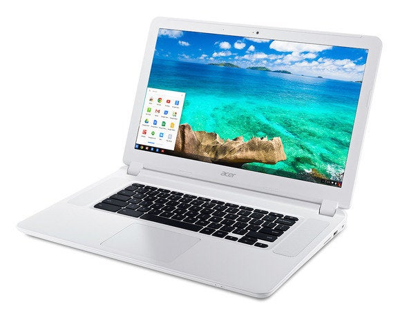 acer chromebook 15 cb5 571 white front up left angle start bar