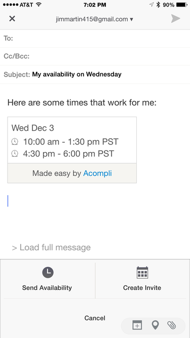 acompli email view of calendar