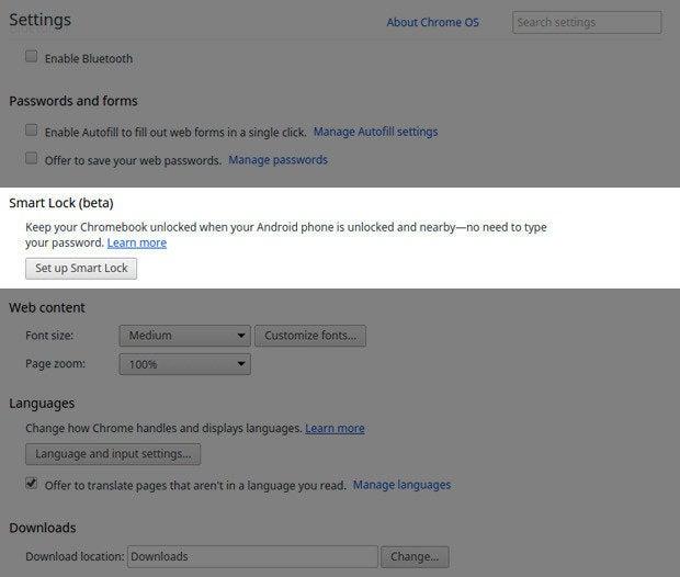 Android 5.0 Lollipop Chromebook Smart Lock