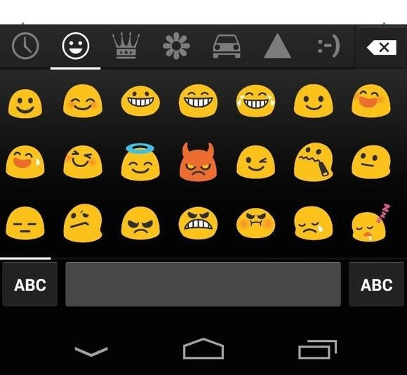 android typing tips emoticons