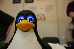 angry linux penguin