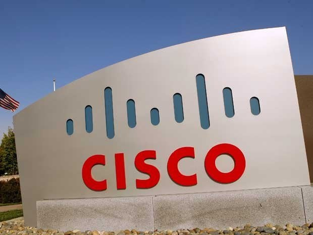 The Cisco logo is displayed at the technology company's campus.