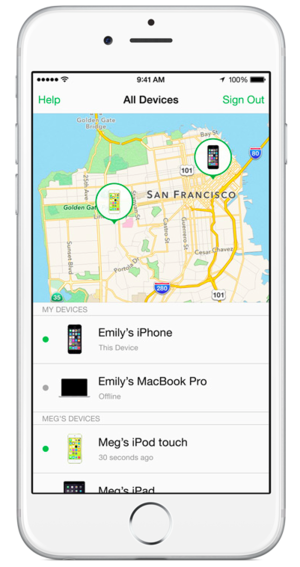 family sharing find my iphone
