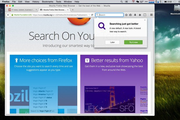 Firefox asks users about changing search providers