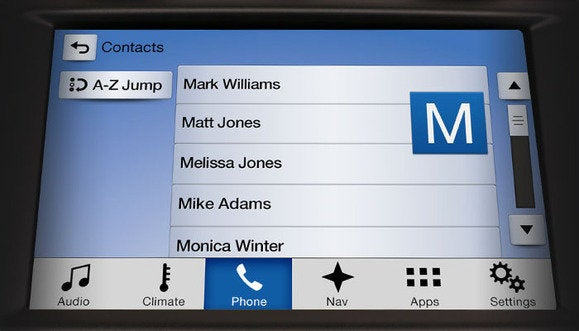 ford sync 3 contacts screen