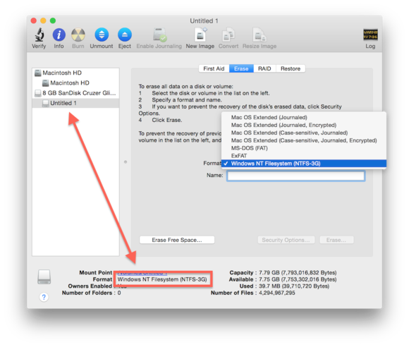 How to mount and manage non-native file systems in OS X with