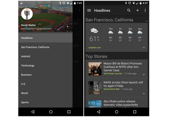 google adds slick looking dark theme to its news and weather app
