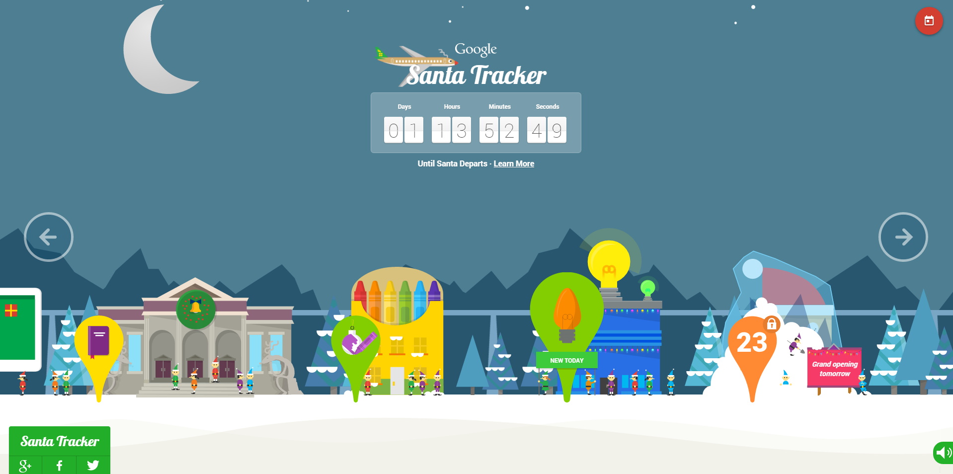 googles santa tracker website