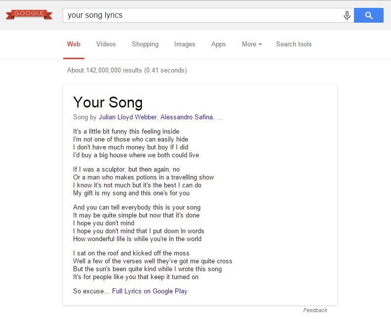 Google adds song lyrics to search results but it feels like a ...