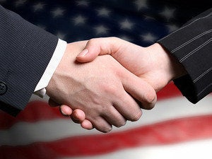 handshake us flag