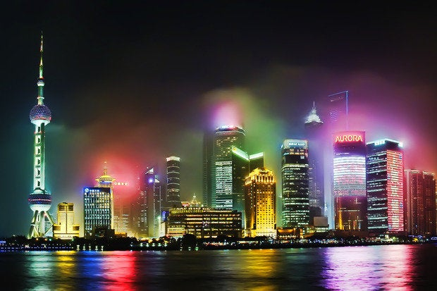 hazy lujiazui pudong shanghai china