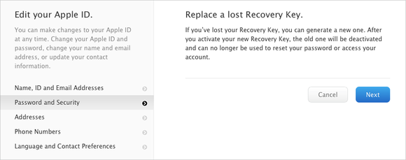 icloud replace key