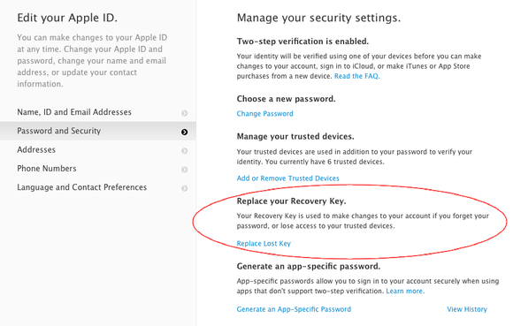 icloud replace recovery key