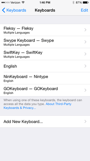 ios keyboard settings