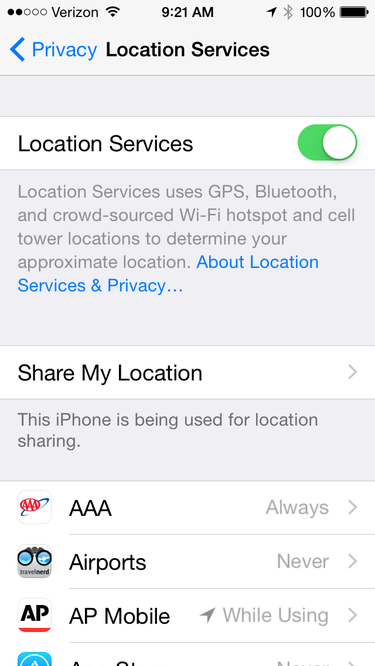 iOS 8's location privacy settings