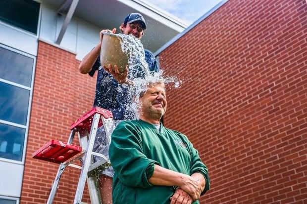 john maino performs the als ice bucket challenge