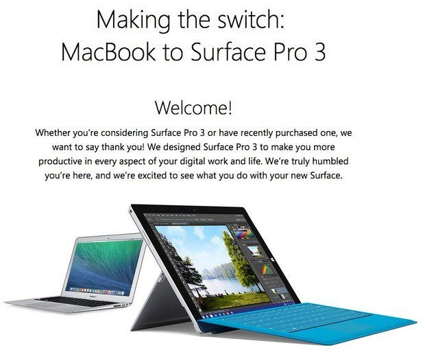 Microsoft site for Surface Pro 3 switchers