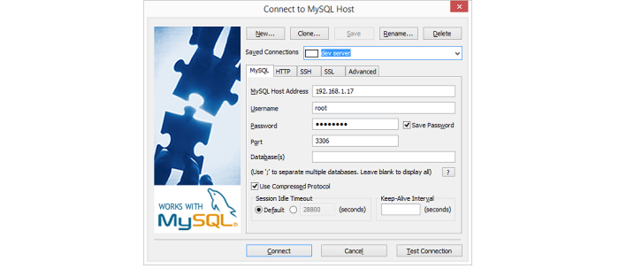 Windows MySQL client settings.