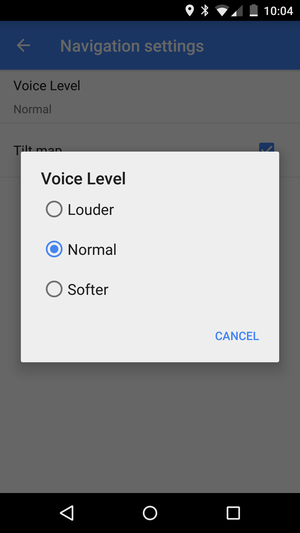 navigation voice level