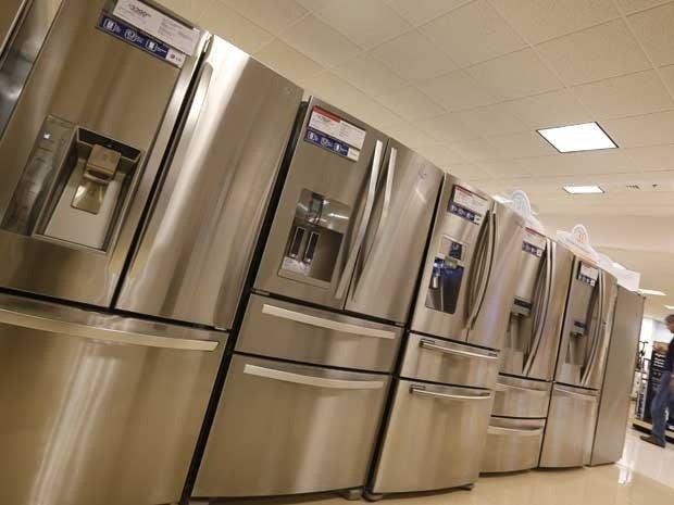 A display of refrigerators