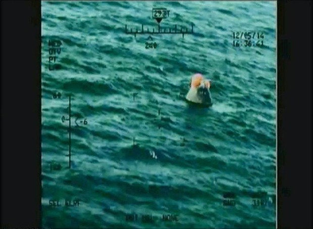 Orion after splashdown in the Pacific Ocean