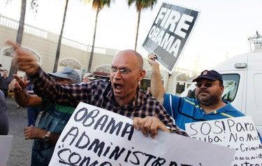 Anti-Castro activists protest in Little Havana in Miami