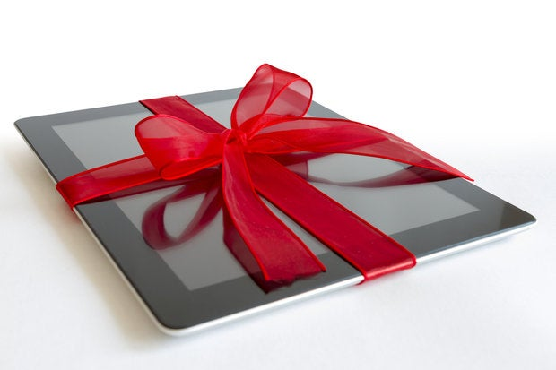 tablet gift red bow