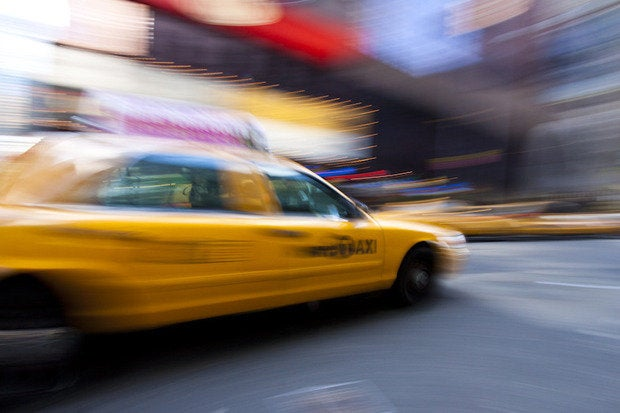 taxi cab moving