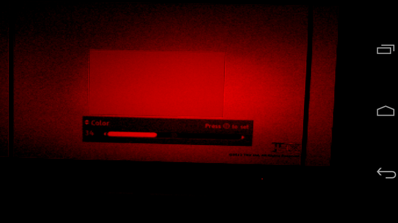 Viewing TV through a red filter on an Android phone