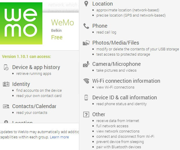 WeMo Android app permissions