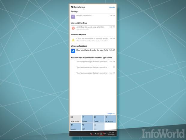 January 2015 Windows 10 Notifications Center