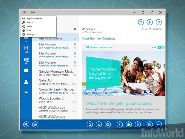 January 2015 Windows 10 Charms-less