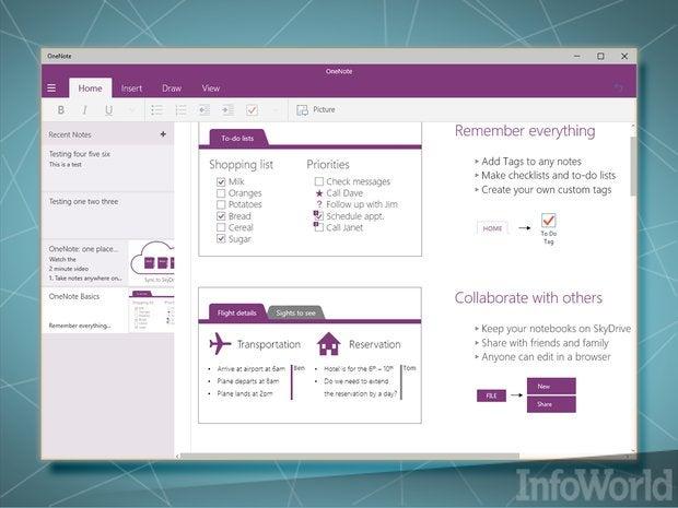 January 2015 Windows 10 Universal OneNote
