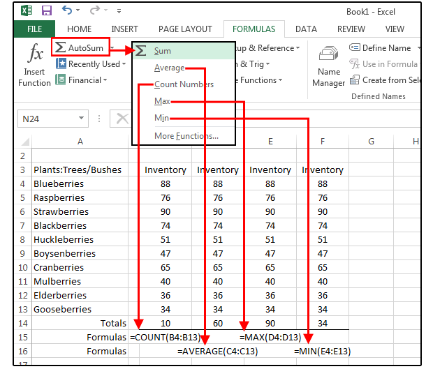 ms office excel formulas with examples
