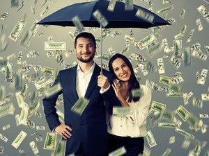 cash money dollars rain man woman umbrella